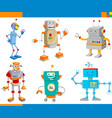 cartoon fantasy robot characters set vector image vector image