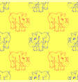 cartoon rhino seamless pattern vector image vector image
