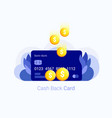 cash back concept credit card with coin money vector image vector image