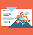 cigarettes accessories smokers 3d landing web page vector image vector image