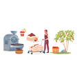 coffee production man carrying sacks fruit vector image vector image
