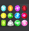 colored gems diamonds set isolated vector image vector image