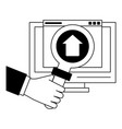 computer with upload sign and magnifying glass in vector image vector image