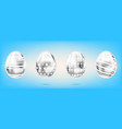 four silver eggs on the sky blue background vector image vector image
