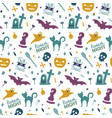 funny hand drawn seamless pattern for halloween vector image vector image