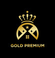 gold premium home logo vector image vector image