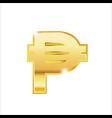 golden peso symbol isolated web icon vector image vector image