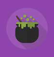 Halloween Flat Icon Witch Pot vector image vector image