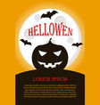 halloween poster with pumpkin and full moon vector image vector image