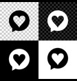 heart in speech bubble icon isolated on black vector image vector image