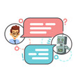 human conversation with robot on smartphone vector image