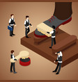 isometric people polishing shoe vector image
