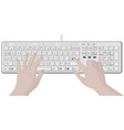 keyboard and hands typing vector image