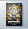 merry christmas party flyer design with holiday vector image