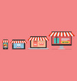 online shopping concept in flat style vector image vector image