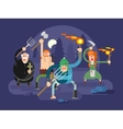 People with torches and pitchforks vector image vector image