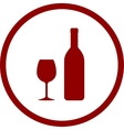 red wine bottle and glass in round frame vector image vector image