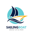 sailing boat abstract logo vector image vector image