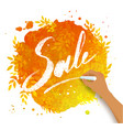 sale word chalk lettering on autumn leaves vector image vector image