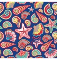 Sea shells seamless pattern in colorful on white vector image vector image