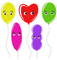 set of flat colored isolated balloons cartoon on vector image vector image