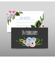 set valentines cards with painted flower vector image vector image