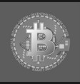 silver bitcoin coin crypto currency silver vector image