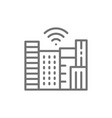 smart town with wi-fi zone technology city line vector image