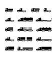 truck silhouette icons shipping cargo trukcs vector image