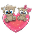 two cute teddy bears vector image vector image