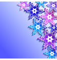 Winter background with 3d colorful snowflakes vector image vector image
