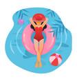 woman sunbathing at beach or pool relaxing vector image vector image