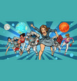 women and astronauts running into the future in vector image vector image