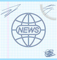 world and global news concept line sketch icon vector image vector image