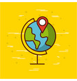 planet earth with gps pin image vector image