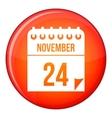 24 november calendar icon flat style vector image vector image