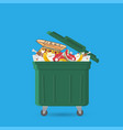 a full garbage can with waste vector image