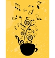 Abstract music background with notes and coffee vector image vector image