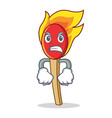 angry match stick mascot cartoon vector image