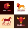 Animals Logo Design 4 Flat Icons vector image