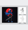 astronaut sword mascot logo design vector image