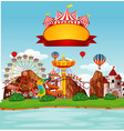 background scene funpark with many rides vector image vector image