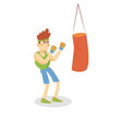 boxer hitting a punching bag man working out in vector image