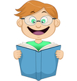 Boy With Glasses Reading From Book vector image vector image