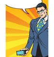 Businessman with smartphone gadget vector image vector image