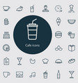 cafe outline thin flat digital icon set vector image