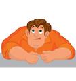 Cartoon angry man torso in orange top vector image
