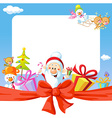 christmas frame wit santa claus and gifts- funny vector image vector image