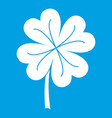 clover leaf icon white vector image vector image