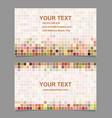 Colorful digital art mosaic business card template vector image